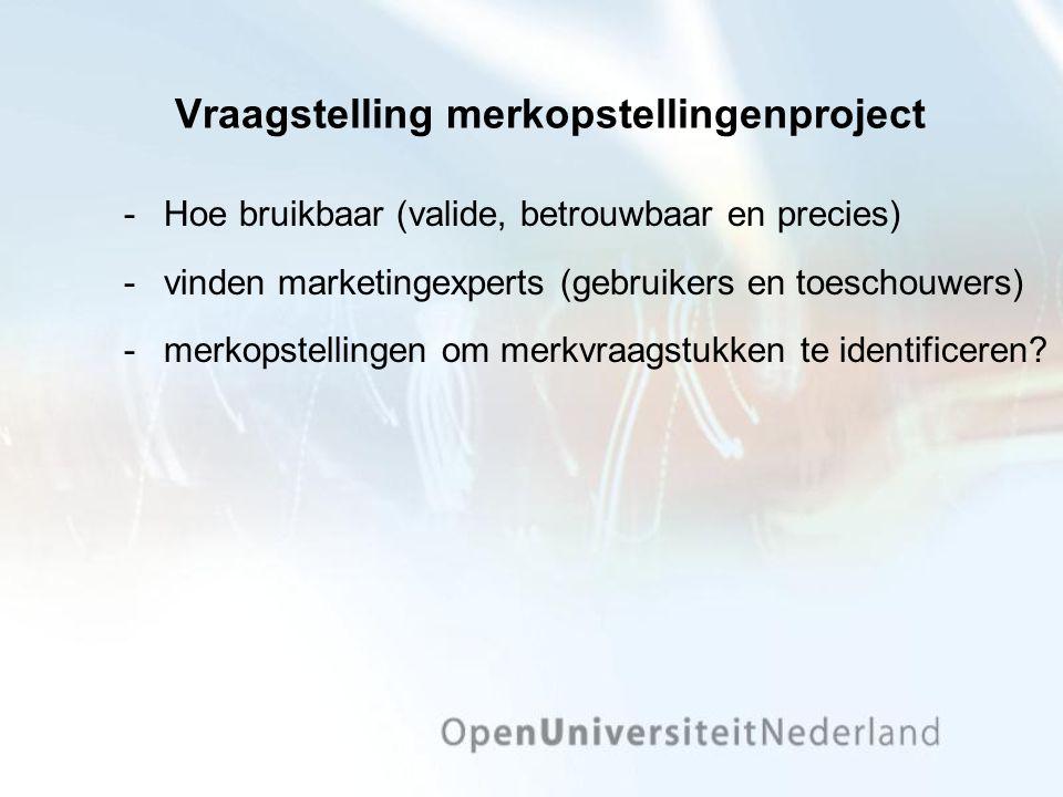 Vraagstelling merkopstellingenproject Hoe bruikbaar (valide, betrouwbaar en precies) vinden marketingexperts (gebruikers en toeschouwers) merkopstellingen om merkvraagstukken te identificeren