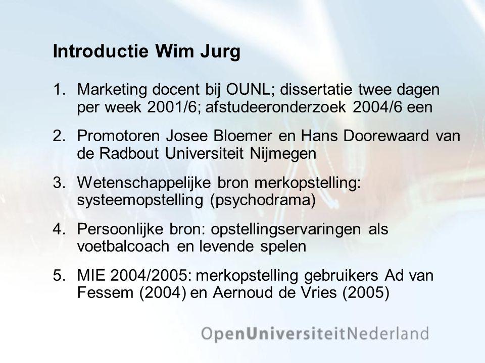 Introductie Wim Jurg 1.Marketing docent bij OUNL; dissertatie twee dagen per week 2001/6; afstudeeronderzoek 2004/6 een 2.Promotoren Josee Bloemer en Hans Doorewaard van de Radbout Universiteit Nijmegen 3.Wetenschappelijke bron merkopstelling: systeemopstelling (psychodrama) 4.Persoonlijke bron: opstellingservaringen als voetbalcoach en levende spelen 5.MIE 2004/2005: merkopstelling gebruikers Ad van Fessem (2004) en Aernoud de Vries (2005)