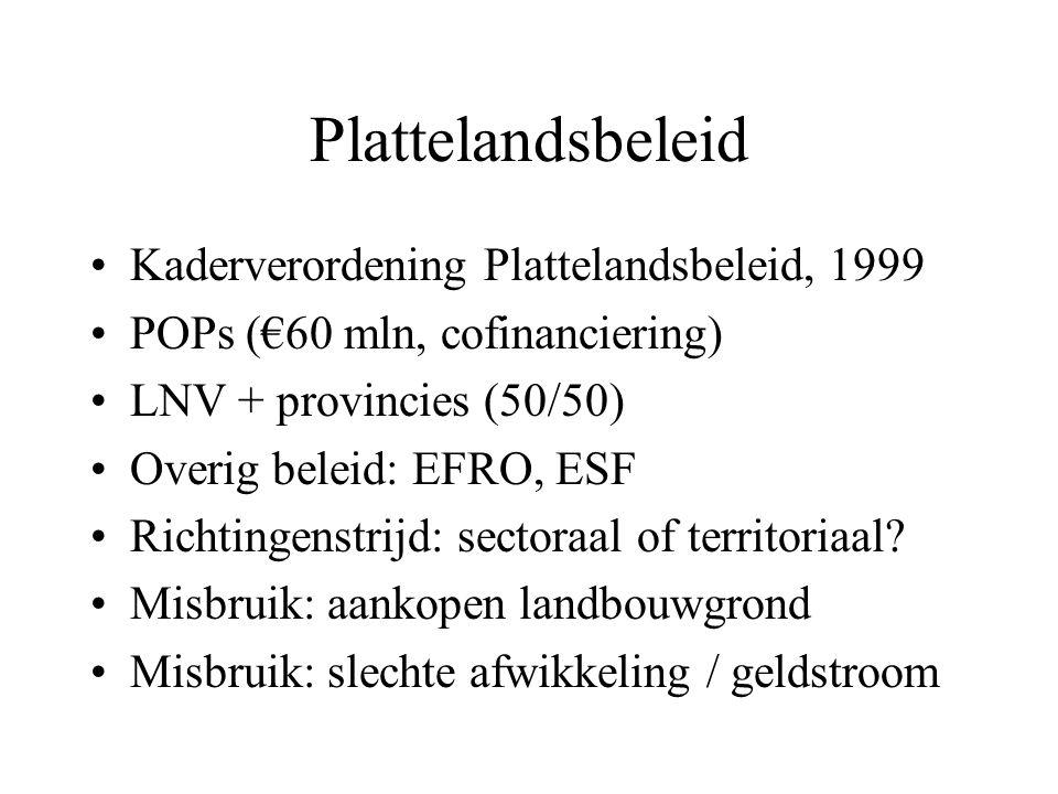 Plattelandsbeleid Kaderverordening Plattelandsbeleid, 1999 POPs (€60 mln, cofinanciering) LNV + provincies (50/50) Overig beleid: EFRO, ESF Richtingenstrijd: sectoraal of territoriaal.