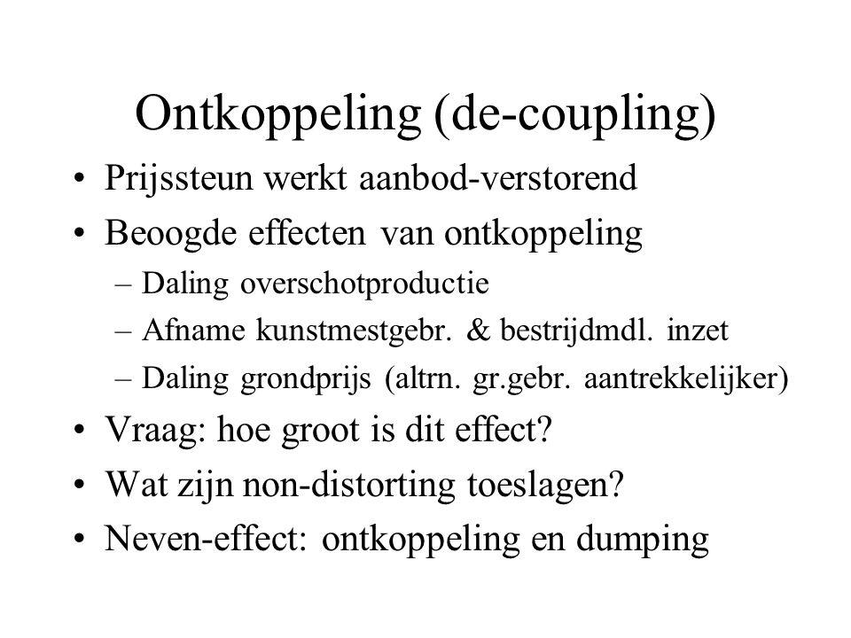 Ontkoppeling (de-coupling) Prijssteun werkt aanbod-verstorend Beoogde effecten van ontkoppeling –Daling overschotproductie –Afname kunstmestgebr.