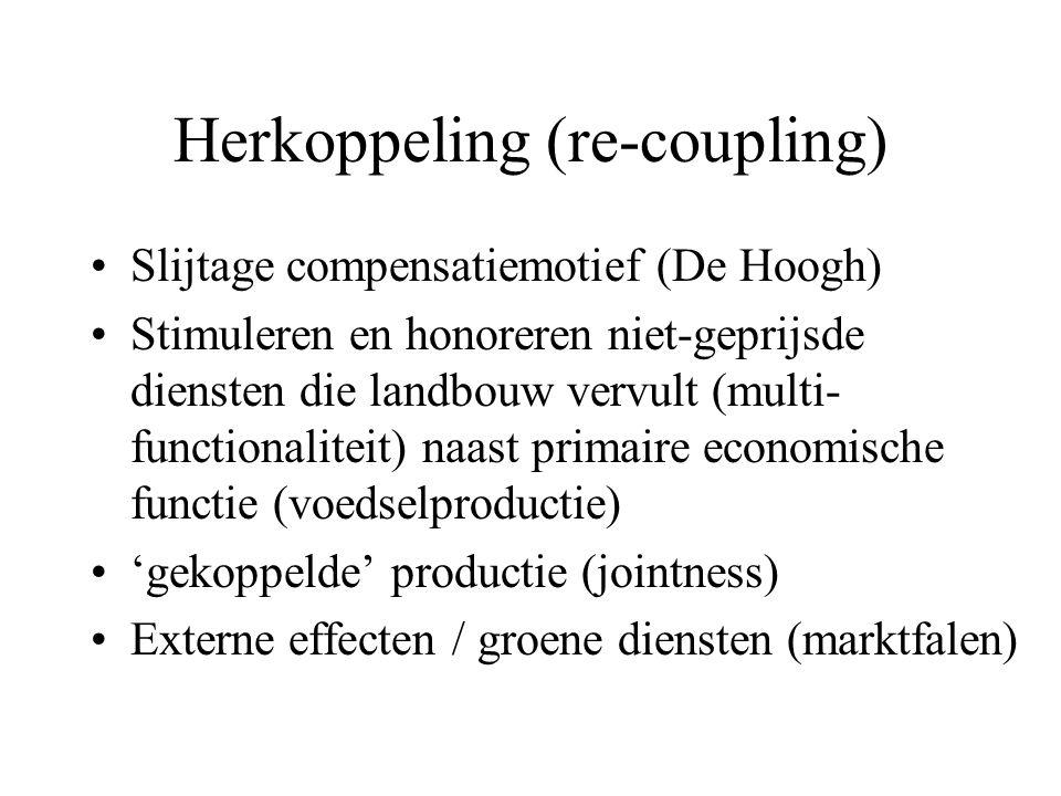 Herkoppeling (re-coupling) Slijtage compensatiemotief (De Hoogh) Stimuleren en honoreren niet-geprijsde diensten die landbouw vervult (multi- functionaliteit) naast primaire economische functie (voedselproductie) 'gekoppelde' productie (jointness) Externe effecten / groene diensten (marktfalen)