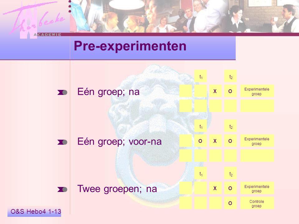 O&S Hebo4 1-13 Pre-experimenten Eén groep; na Eén groep; voor-na Twee groepen; na X t 1 t 2 O Experimentele groep X t 1 t 2 OO Experimentele groep X t