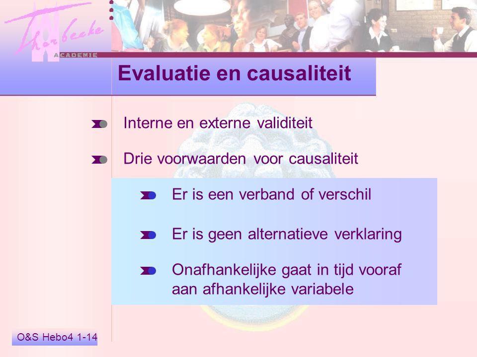 O&S Hebo4 1-14 Evaluatie en causaliteit Interne en externe validiteit Drie voorwaarden voor causaliteit Er is een verband of verschil Er is geen alter
