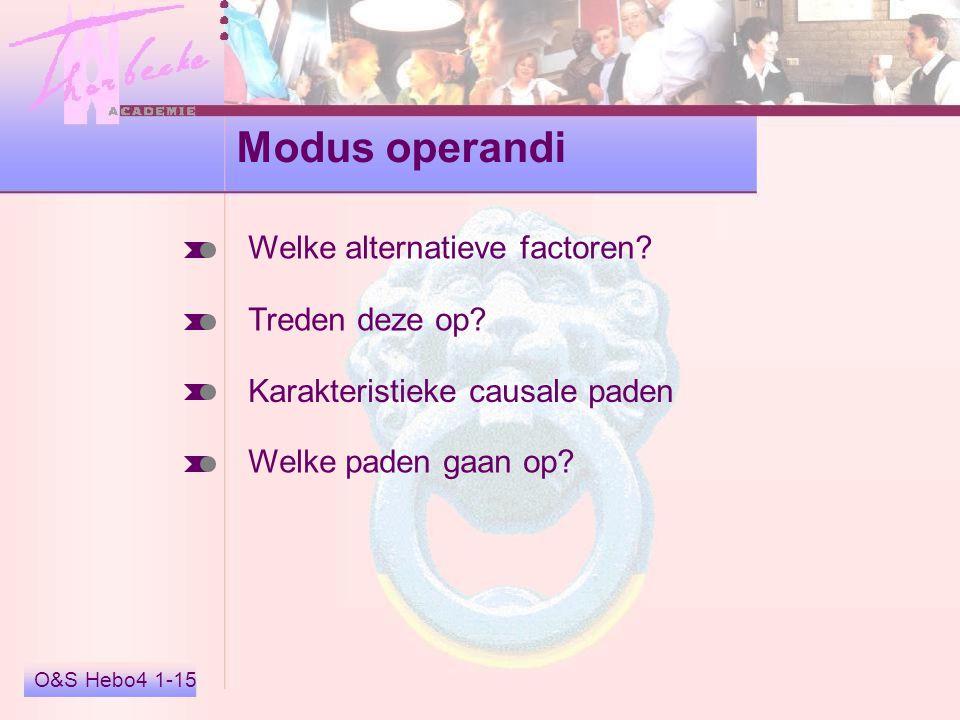O&S Hebo4 1-15 Modus operandi Welke alternatieve factoren? Treden deze op? Karakteristieke causale paden Welke paden gaan op?