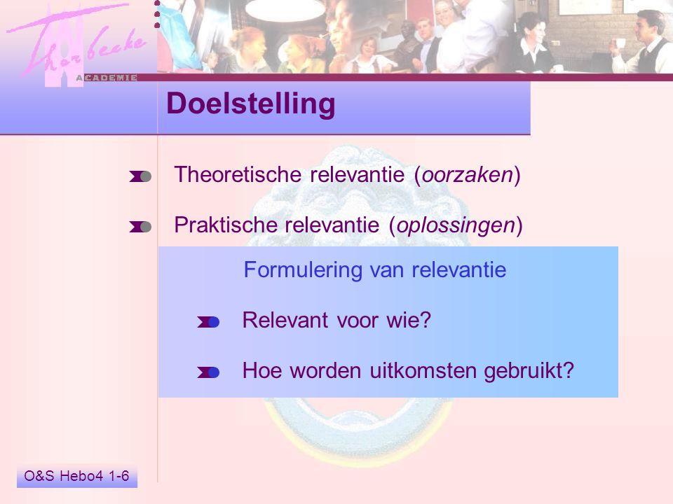 O&S Hebo4 1-6 Doelstelling Theoretische relevantie (oorzaken) Praktische relevantie (oplossingen) Formulering van relevantie Relevant voor wie? Hoe wo