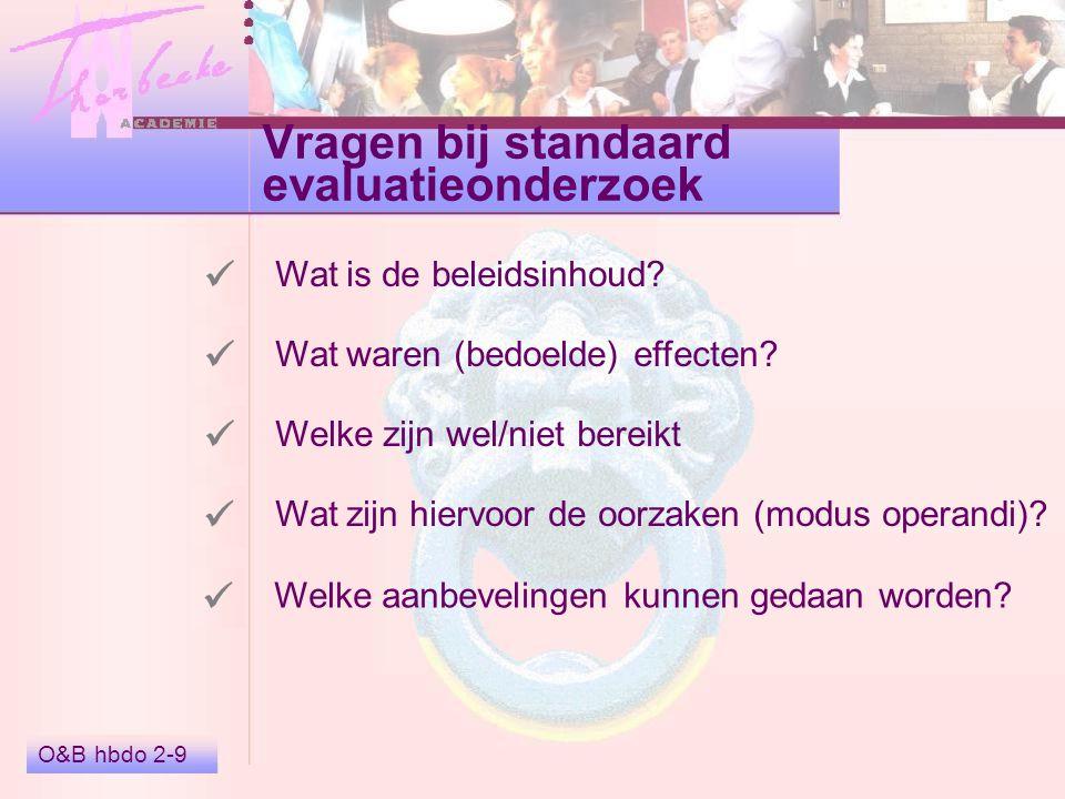 Argumenten bij stelling O&B hbdo 2-10 Voor- en nadelen beide vormen Ideeën over evaluatieonderzoek Overeenkomsten beide vormen