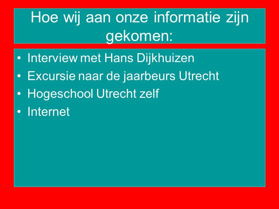 Hoe wij aan onze informatie zijn gekomen: Interview met Hans Dijkhuizen Excursie naar de jaarbeurs Utrecht Hogeschool Utrecht zelf Internet