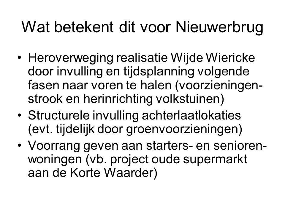 Wat betekent dit voor Nieuwerbrug Heroverweging realisatie Wijde Wiericke door invulling en tijdsplanning volgende fasen naar voren te halen (voorzien