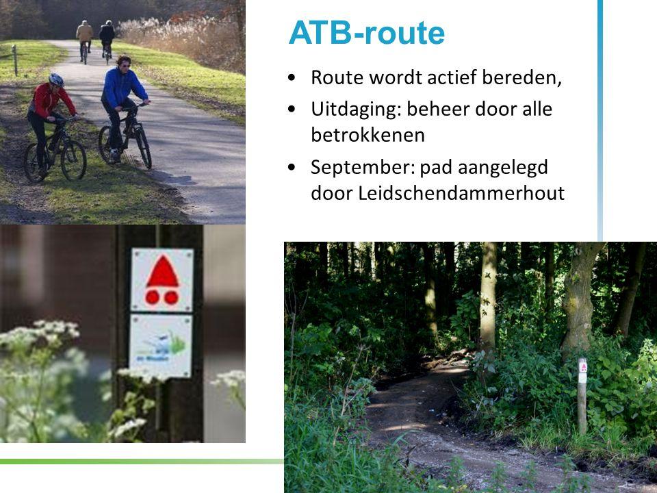 Route wordt actief bereden, Uitdaging: beheer door alle betrokkenen September: pad aangelegd door Leidschendammerhout ATB-route