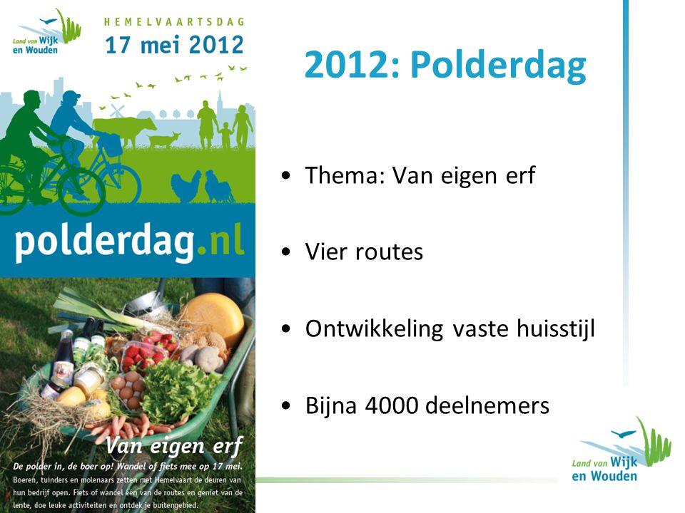2012: Polderdag Thema: Van eigen erf Vier routes Ontwikkeling vaste huisstijl Bijna 4000 deelnemers