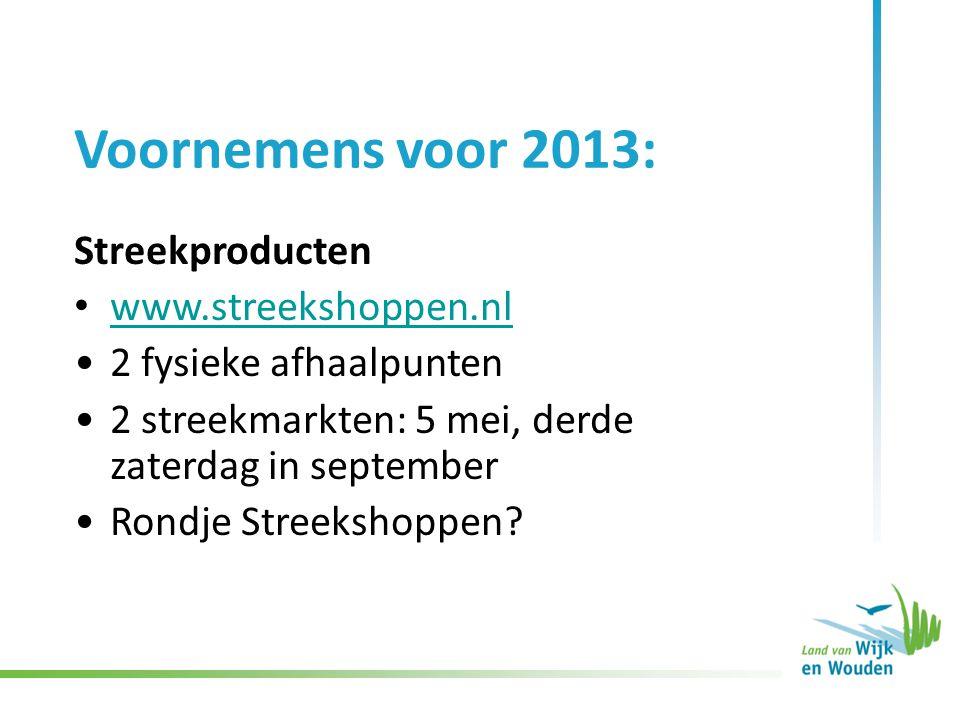 Voornemens voor 2013: Streekproducten www.streekshoppen.nl 2 fysieke afhaalpunten 2 streekmarkten: 5 mei, derde zaterdag in september Rondje Streekshoppen