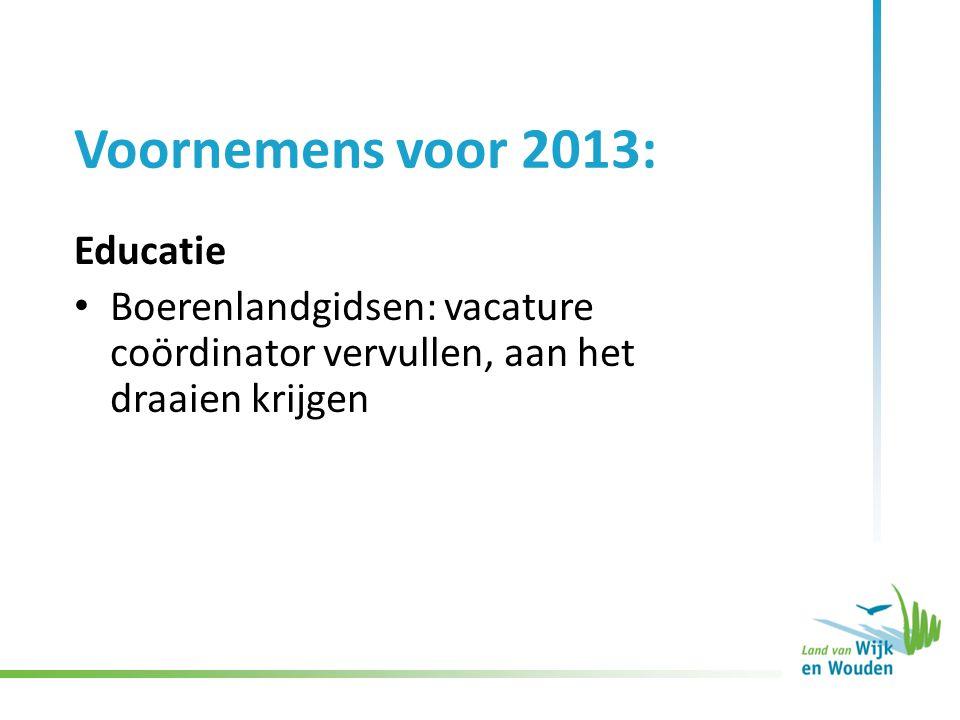 Voornemens voor 2013: Educatie Boerenlandgidsen: vacature coördinator vervullen, aan het draaien krijgen