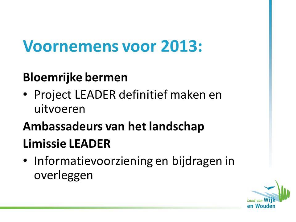 Voornemens voor 2013: Bloemrijke bermen Project LEADER definitief maken en uitvoeren Ambassadeurs van het landschap Limissie LEADER Informatievoorziening en bijdragen in overleggen