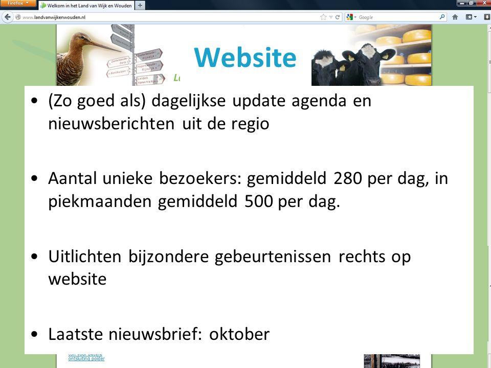 Website (Zo goed als) dagelijkse update agenda en nieuwsberichten uit de regio Aantal unieke bezoekers: gemiddeld 280 per dag, in piekmaanden gemiddeld 500 per dag.