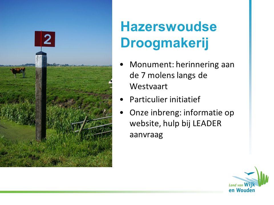 Monument: herinnering aan de 7 molens langs de Westvaart Particulier initiatief Onze inbreng: informatie op website, hulp bij LEADER aanvraag Hazerswoudse Droogmakerij