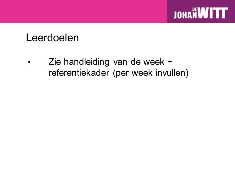 Leerdoelen Zie handleiding van de week + referentiekader (per week invullen)