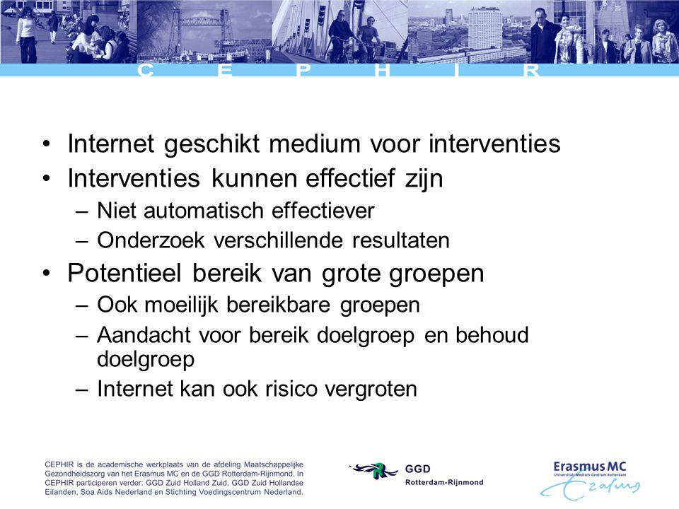Internet geschikt medium voor interventies Interventies kunnen effectief zijn –Niet automatisch effectiever –Onderzoek verschillende resultaten Potentieel bereik van grote groepen –Ook moeilijk bereikbare groepen –Aandacht voor bereik doelgroep en behoud doelgroep –Internet kan ook risico vergroten