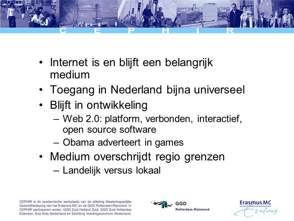 Internet is en blijft een belangrijk medium Toegang in Nederland bijna universeel Blijft in ontwikkeling –Web 2.0: platform, verbonden, interactief, open source software –Obama adverteert in games Medium overschrijdt regio grenzen –Landelijk versus lokaal