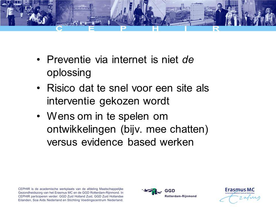 Preventie via internet is niet de oplossing Risico dat te snel voor een site als interventie gekozen wordt Wens om in te spelen om ontwikkelingen (bijv.