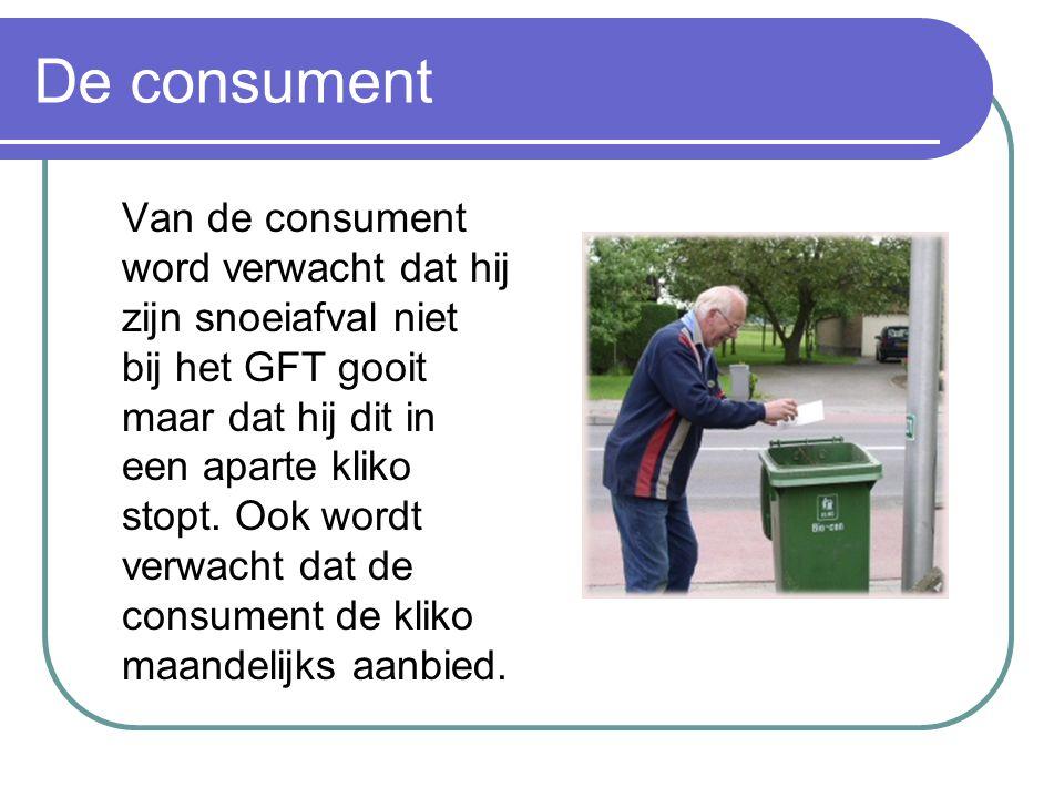De consument Van de consument word verwacht dat hij zijn snoeiafval niet bij het GFT gooit maar dat hij dit in een aparte kliko stopt. Ook wordt verwa