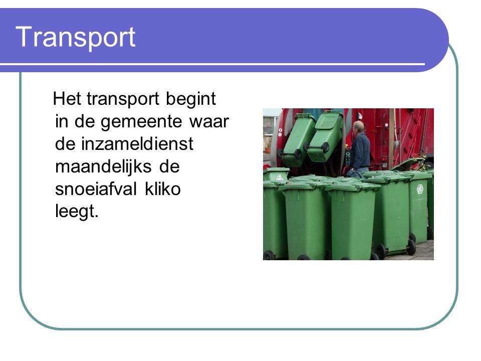 Transport Het transport begint in de gemeente waar de inzameldienst maandelijks de snoeiafval kliko leegt.