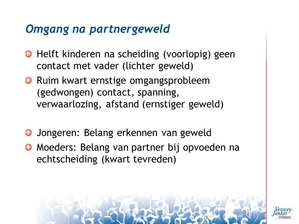 Omgang na partnergeweld Helft kinderen na scheiding (voorlopig) geen contact met vader (lichter geweld) Ruim kwart ernstige omgangsprobleem (gedwongen