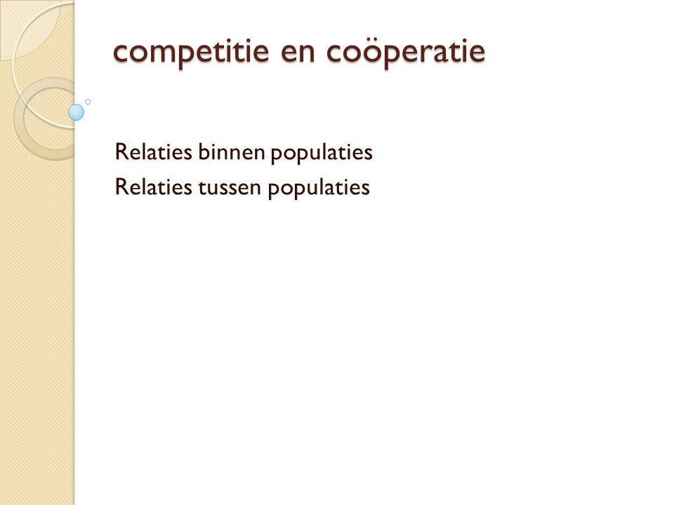 competitie en coöperatie Relaties binnen populaties Relaties tussen populaties