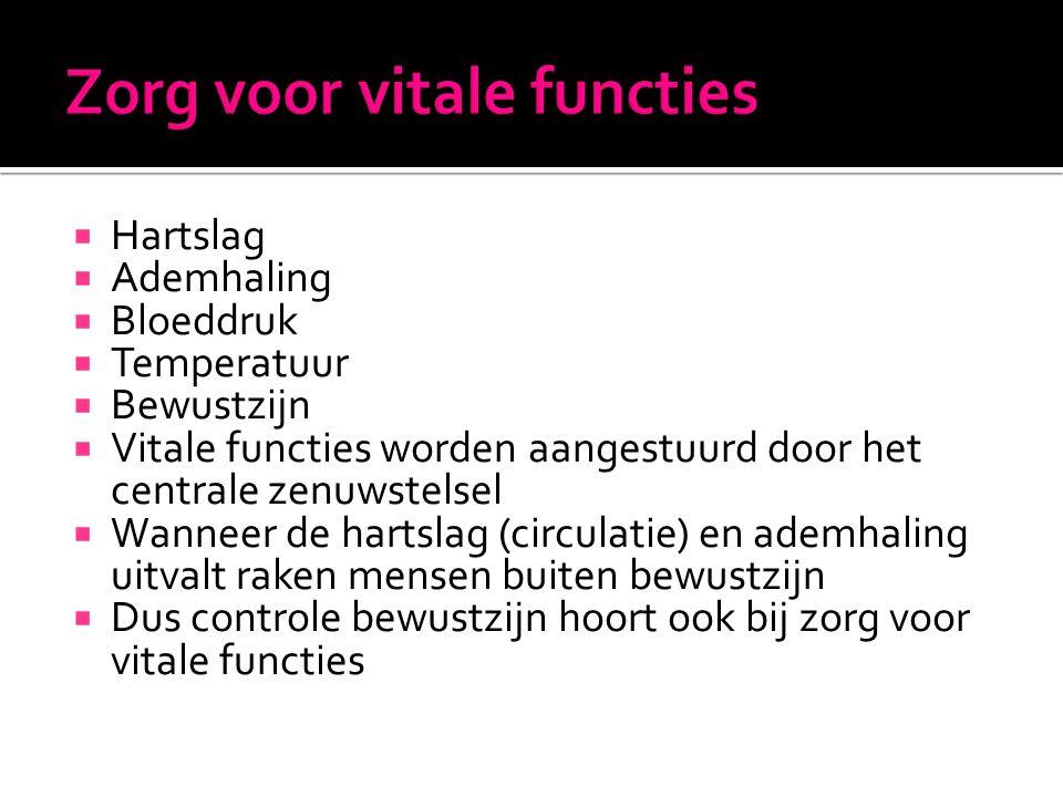  Hartslag  Ademhaling  Bloeddruk  Temperatuur  Bewustzijn  Vitale functies worden aangestuurd door het centrale zenuwstelsel  Wanneer de hartsl