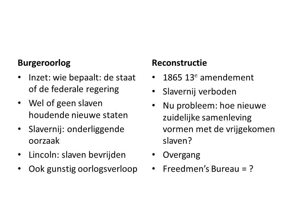 Burgeroorlog Inzet: wie bepaalt: de staat of de federale regering Wel of geen slaven houdende nieuwe staten Slavernij: onderliggende oorzaak Lincoln: