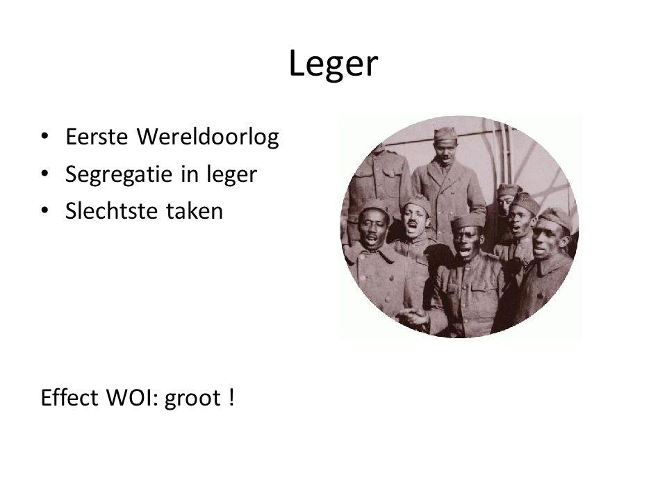Leger Eerste Wereldoorlog Segregatie in leger Slechtste taken Effect WOI: groot !