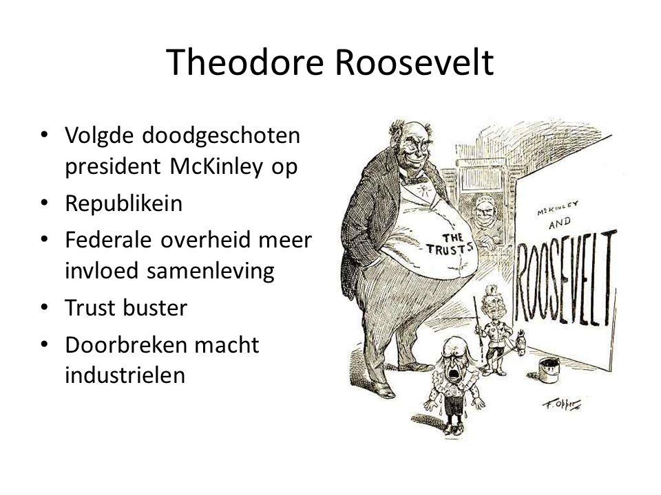 Theodore Roosevelt Volgde doodgeschoten president McKinley op Republikein Federale overheid meer invloed samenleving Trust buster Doorbreken macht ind