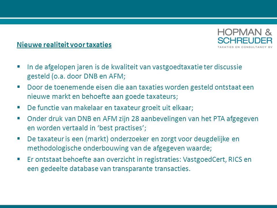 Nieuwe realiteit voor taxaties  In de afgelopen jaren is de kwaliteit van vastgoedtaxatie ter discussie gesteld (o.a. door DNB en AFM;  Door de toen