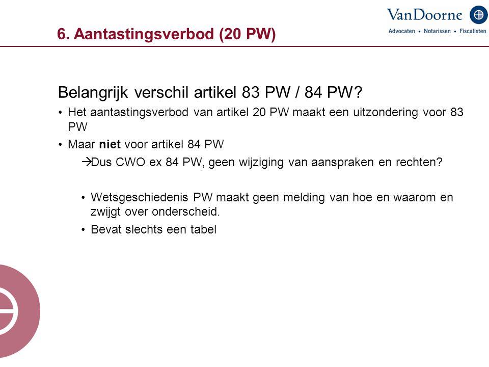 6. Aantastingsverbod (20 PW) Belangrijk verschil artikel 83 PW / 84 PW? Het aantastingsverbod van artikel 20 PW maakt een uitzondering voor 83 PW Maar