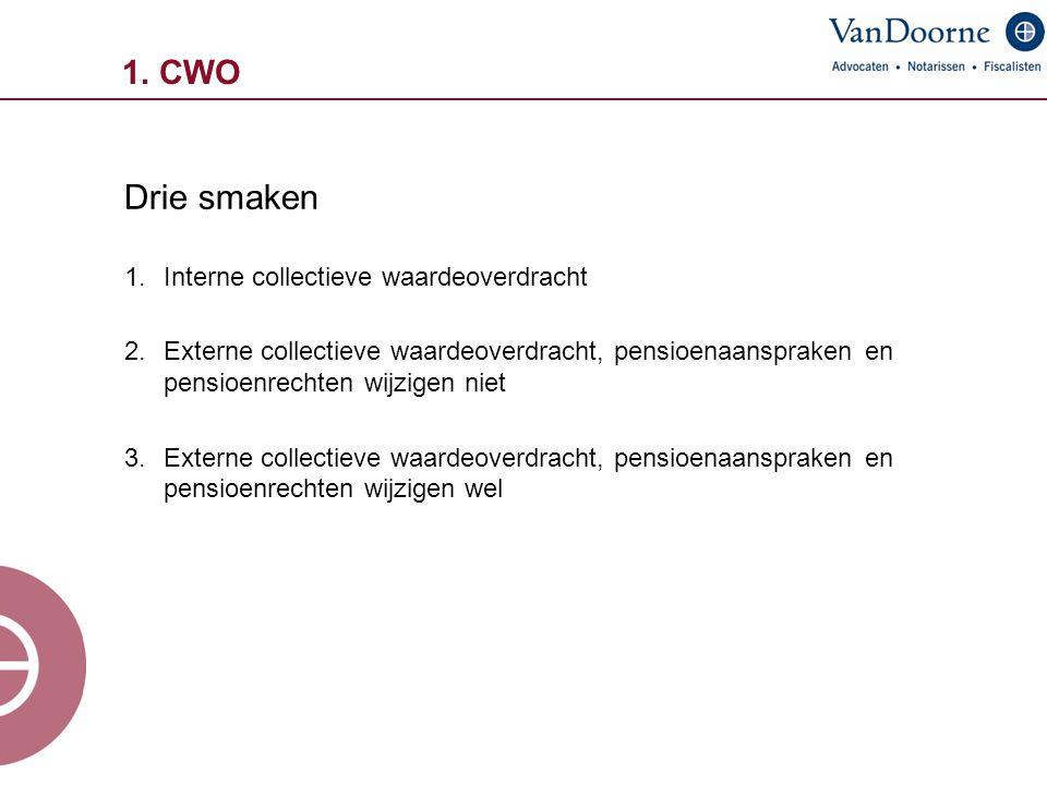 1. CWO Drie smaken 1.Interne collectieve waardeoverdracht 2.Externe collectieve waardeoverdracht, pensioenaanspraken en pensioenrechten wijzigen niet