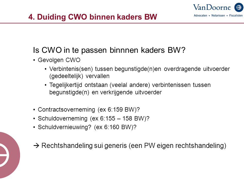 4. Duiding CWO binnen kaders BW Is CWO in te passen binnnen kaders BW? Gevolgen CWO Verbintenis(sen) tussen begunstigde(n)en overdragende uitvoerder (