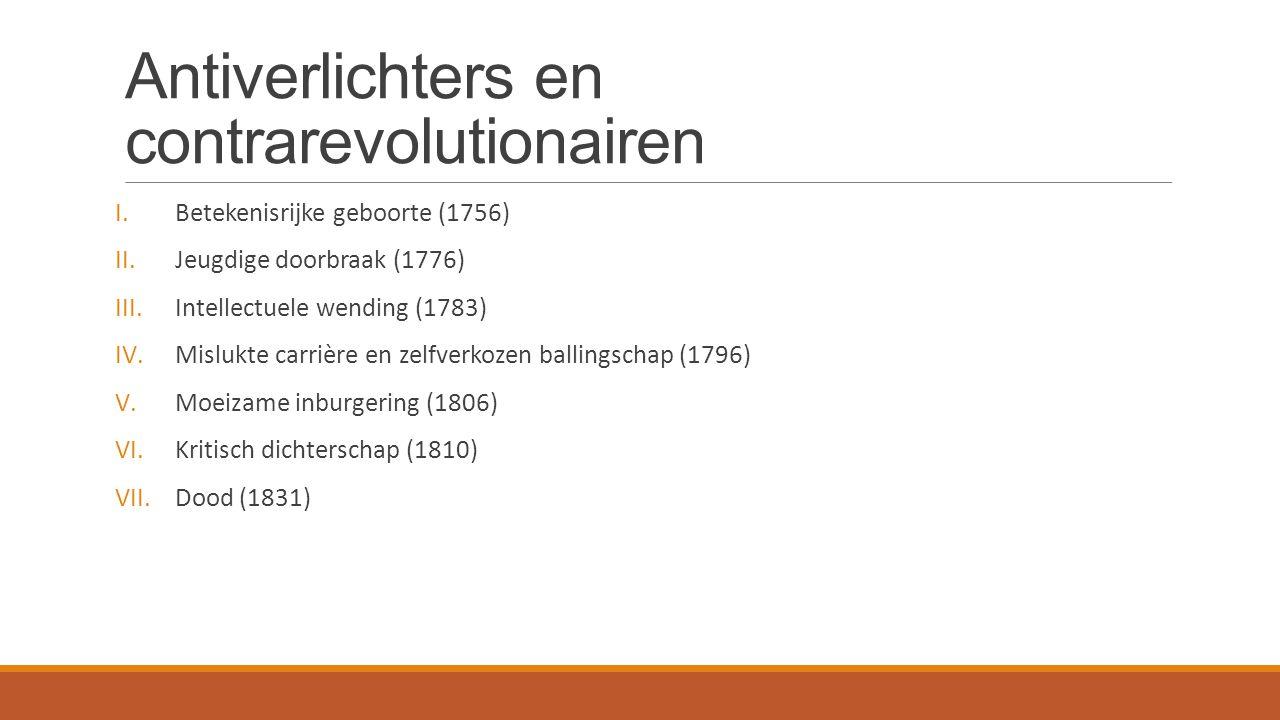 I.Betekenisrijke geboorte (1756) II.Jeugdige doorbraak (1776) III.Intellectuele wending (1783) IV.Mislukte carrière en zelfverkozen ballingschap (1796) V.Moeizame inburgering (1806) VI.Kritisch dichterschap (1810) VII.Dood (1831)