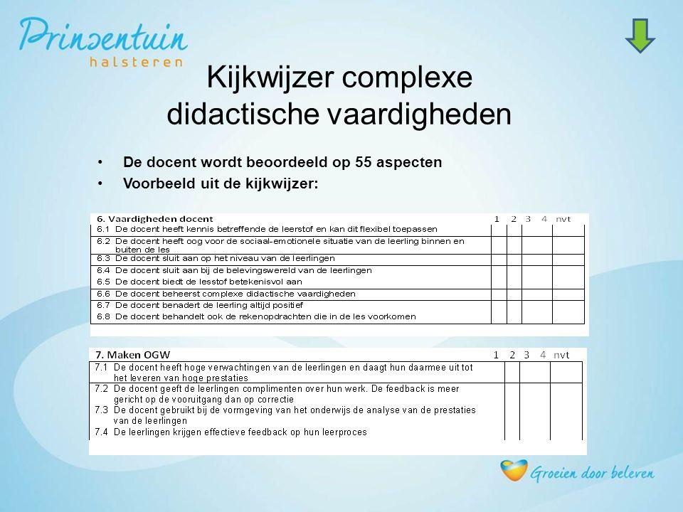 Kijkwijzer complexe didactische vaardigheden De docent wordt beoordeeld op 55 aspecten Voorbeeld uit de kijkwijzer: