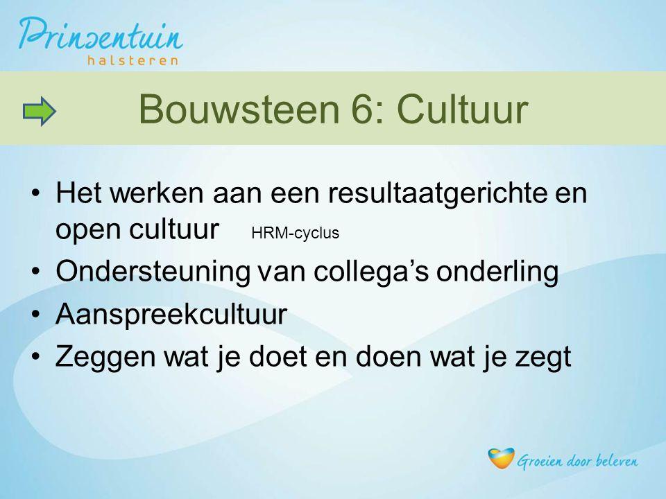 Het werken aan een resultaatgerichte en open cultuur HRM-cyclus Ondersteuning van collega's onderling Aanspreekcultuur Zeggen wat je doet en doen wat je zegt Bouwsteen 6: Cultuur