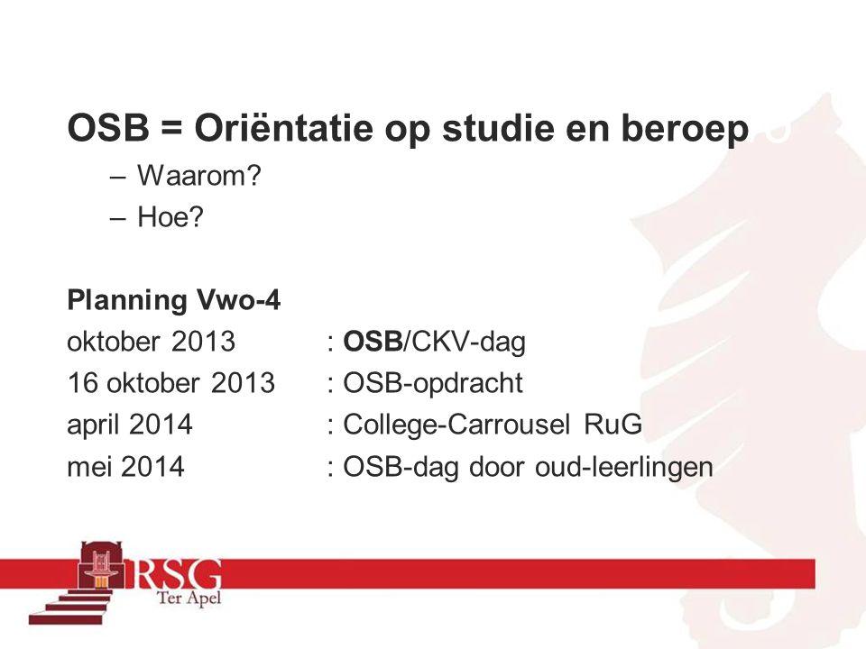 Oktober OSB/CKV-dag 16 oktober 2013 RSG Activeren licentie www.Qompas.nlwww.Qompas.nl Uitvoeren beroepskeuze en studiekeuze-test Oriënterende opdracht inleveren 1-12-2013 studiekeuze module Qompas