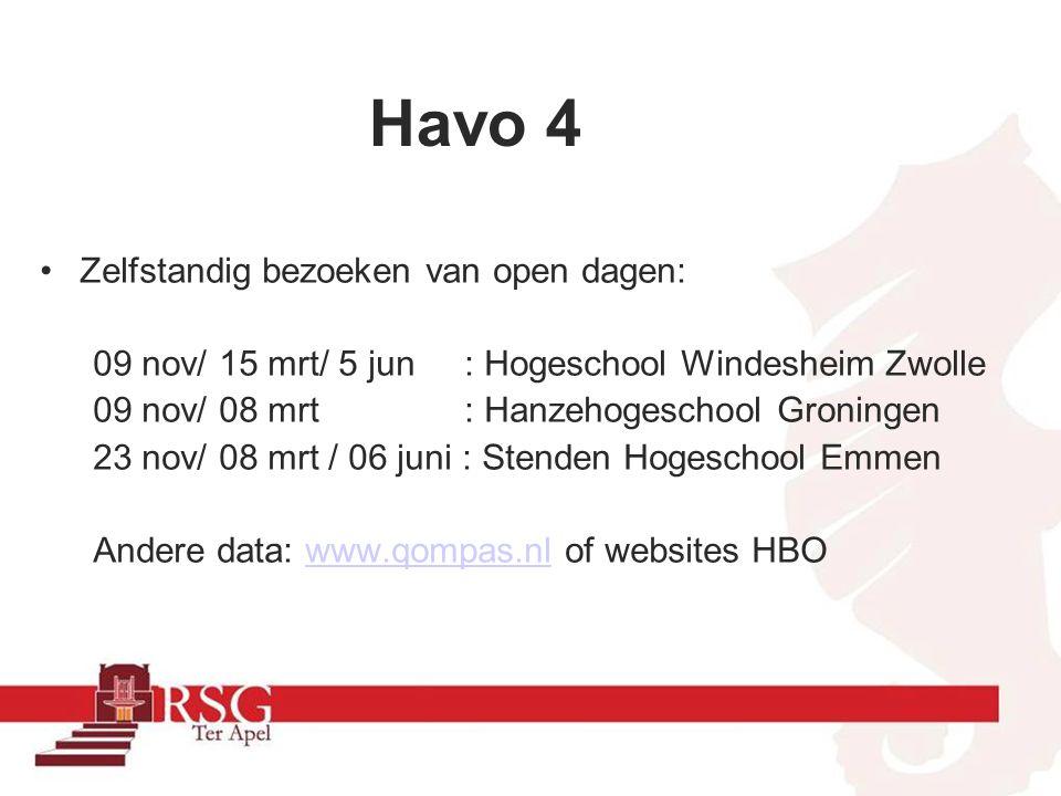 Individueel gesprek met decaan Meeloopdagen (centraal of individueel) Bij voorkeur in 2 e periode HAVO-4/1 e periode HAVO-5 Inschrijving HBO steeds vroeger.