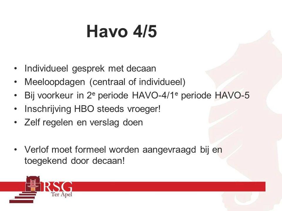Na de Havo HBO Vwo 5 (RSG Ter Apel) ≠havo 6.