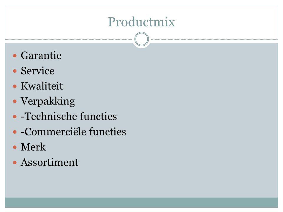 Productmix Garantie Service Kwaliteit Verpakking -Technische functies -Commerciële functies Merk Assortiment