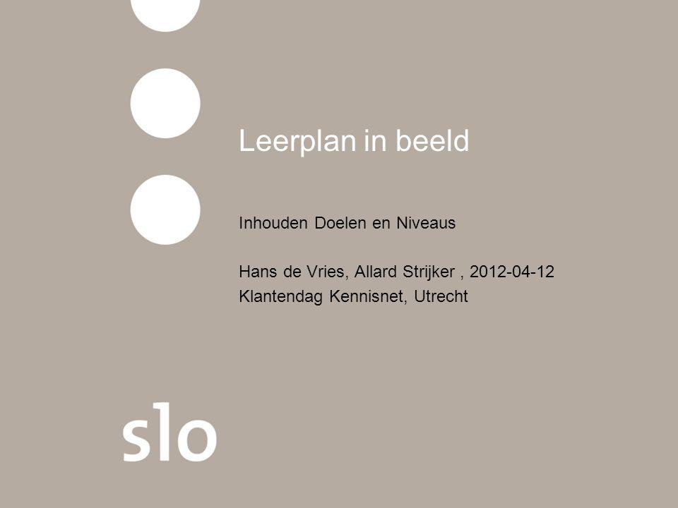 Leerplan in beeld Inhouden Doelen en Niveaus Hans de Vries, Allard Strijker, 2012-04-12 Klantendag Kennisnet, Utrecht