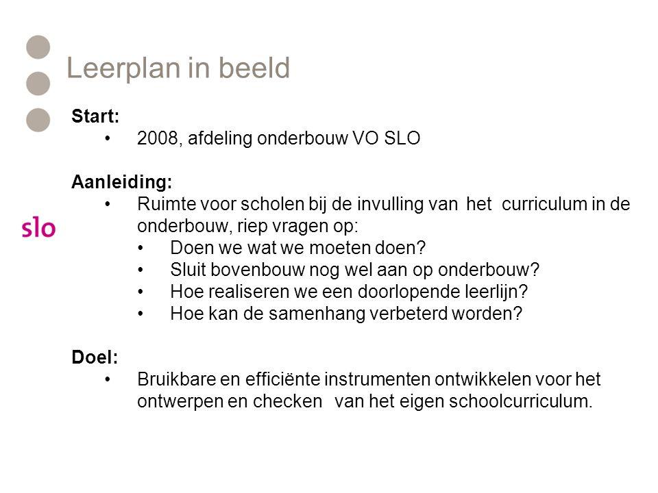 Leerplan in beeld Start: 2008, afdeling onderbouw VO SLO Aanleiding: Ruimte voor scholen bij de invulling van het curriculum in de onderbouw, riep vragen op: Doen we wat we moeten doen.