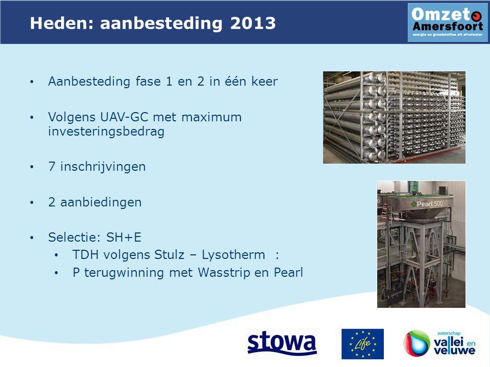 Heden: aanbesteding 2013 Aanbesteding fase 1 en 2 in één keer Volgens UAV-GC met maximum investeringsbedrag 7 inschrijvingen 2 aanbiedingen Selectie: SH+E TDH volgens Stulz – Lysotherm : P terugwinning met Wasstrip en Pearl