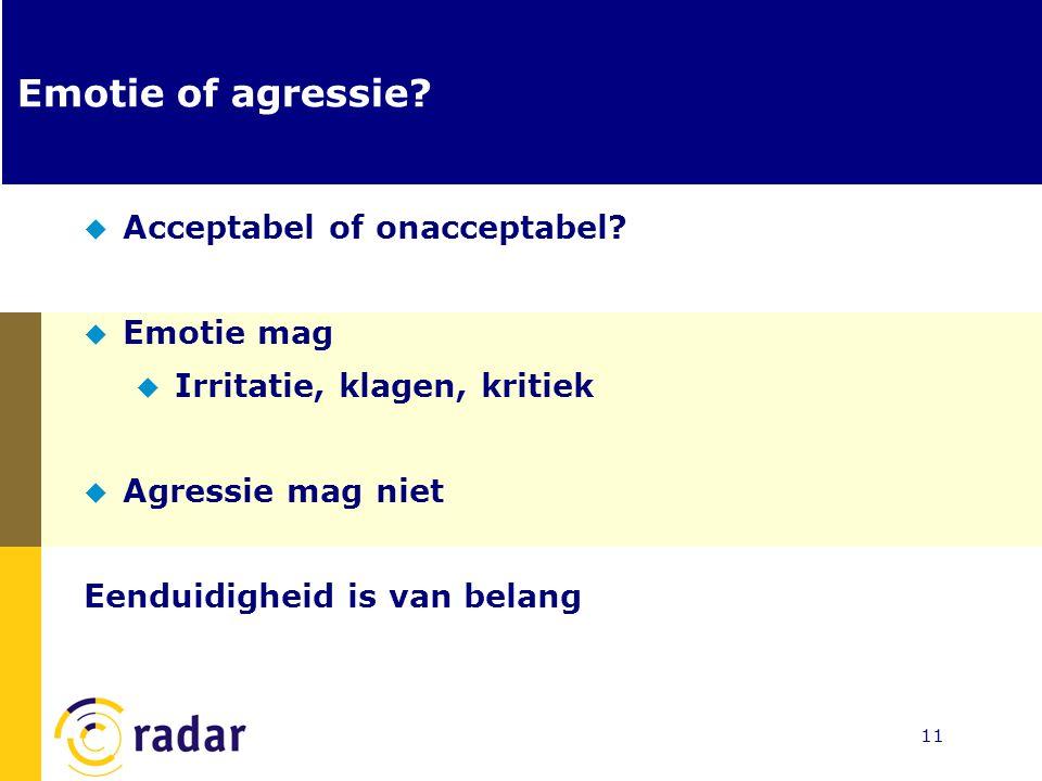 Voorbeelden  Acceptabel of onacceptabel?  Emotie mag  Irritatie, klagen, kritiek  Agressie mag niet Eenduidigheid is van belang 11 Emotie of agres