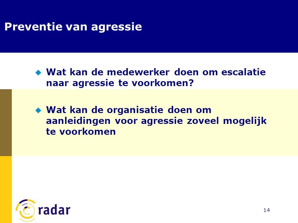 14 Preventie van agressie  Wat kan de medewerker doen om escalatie naar agressie te voorkomen?  Wat kan de organisatie doen om aanleidingen voor agr