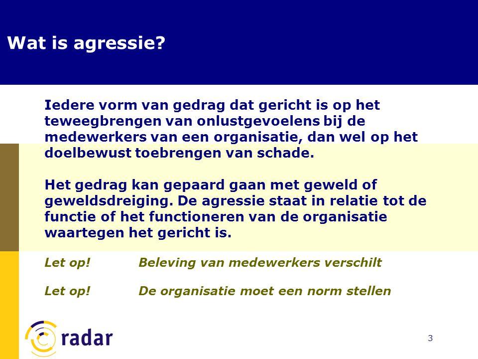 14 Preventie van agressie  Wat kan de medewerker doen om escalatie naar agressie te voorkomen.