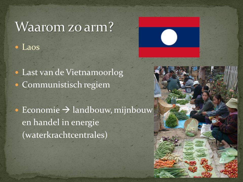Laos Last van de Vietnamoorlog Communistisch regiem Economie  landbouw, mijnbouw en handel in energie (waterkrachtcentrales)