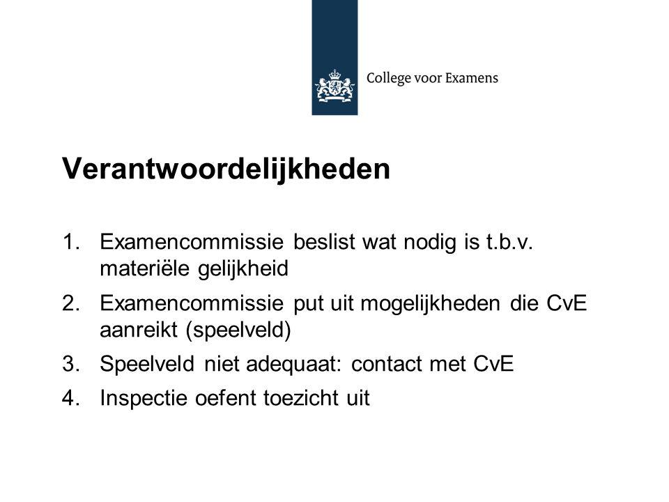 Verantwoordelijkheden 1.Examencommissie beslist wat nodig is t.b.v. materiële gelijkheid 2.Examencommissie put uit mogelijkheden die CvE aanreikt (spe